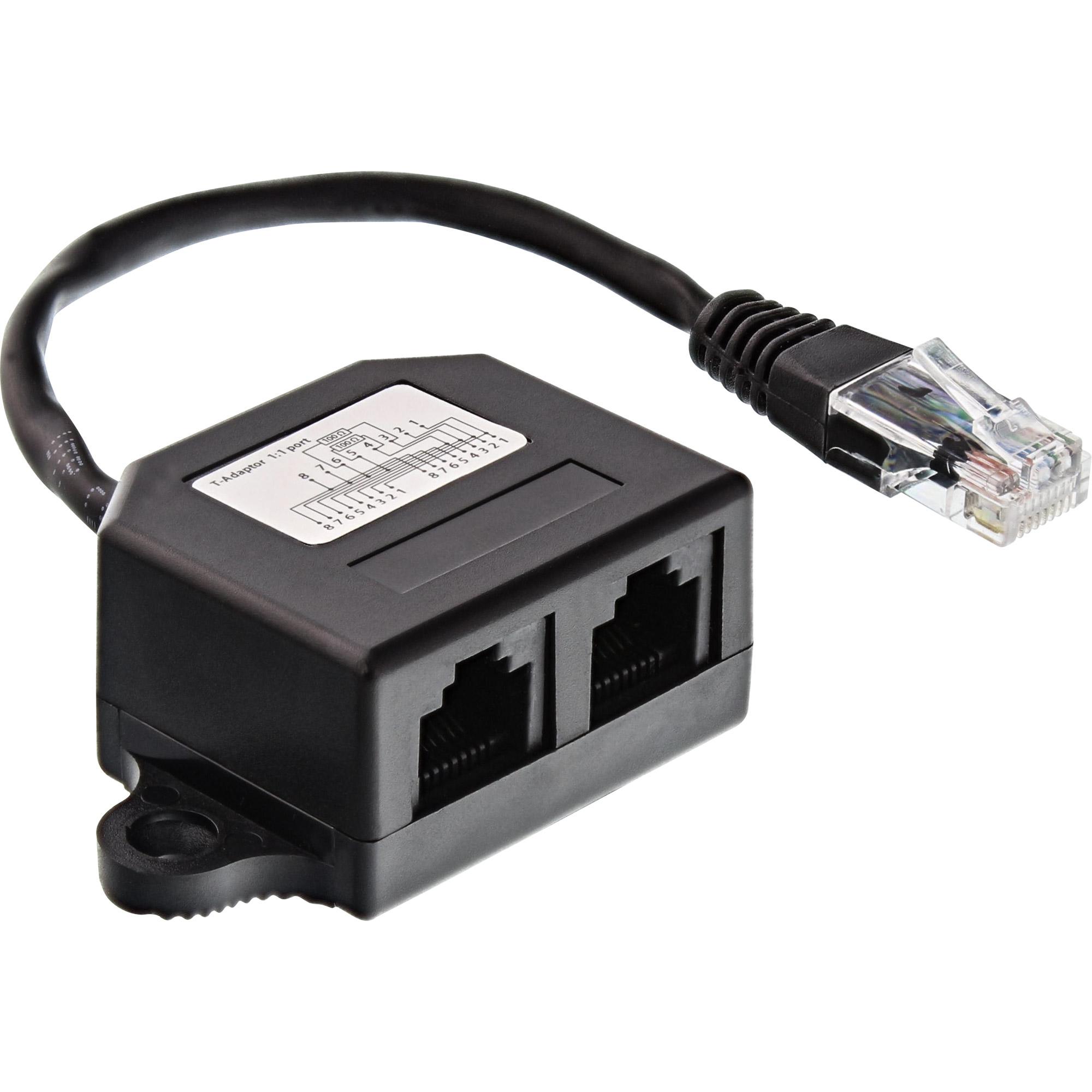 InLine® ISDN Verteiler, 2x RJ45 Buchse, 15cm Kabel, mit Endwiderständen, montierbar