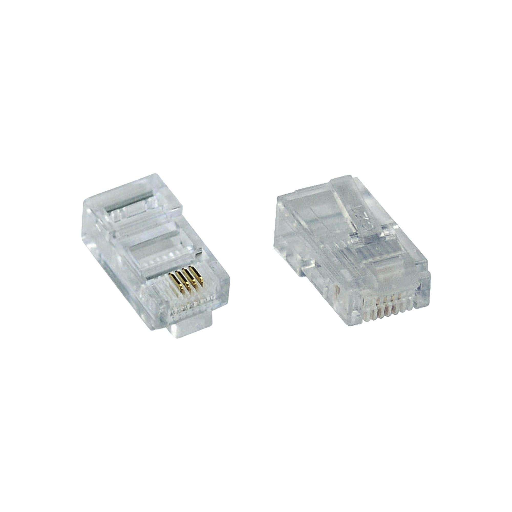 100er Pack InLine® Modularstecker 8P4C RJ45 zum Crimpen auf Flachkabel (ISDN)